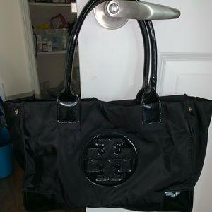 Tory Burch black pattern leather handles